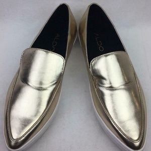 ALDO GOLD LEATHER POINTED TOE SLIP ONS SZ …